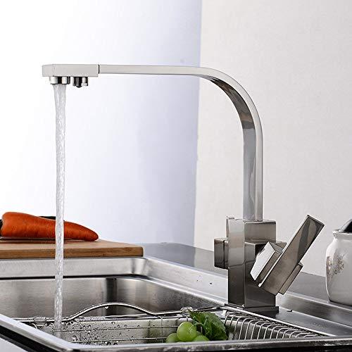 Yangmanini Cocina De Plata Cepillado Grifo del Fregadero Tres con Agua Pura Grifo del Fregadero De La Cocina Llave Doble Grifo