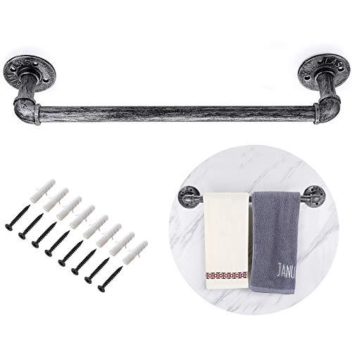BSTKEY Soporte para toallas de tubo industrial vintage de 50 cm, para colgar en la pared, diseño retro, color gris plateado