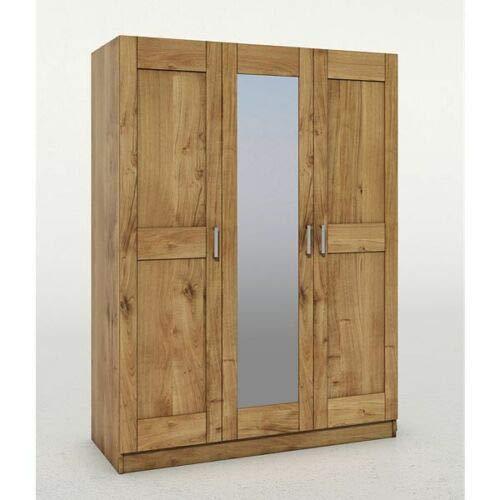 Eternity-Moebel24 Kleiderschrank Garderobenschrank Spiegelschrank Mehrzweckschrank Schrank in Wildeiche teilmasiv geölt 3-türig
