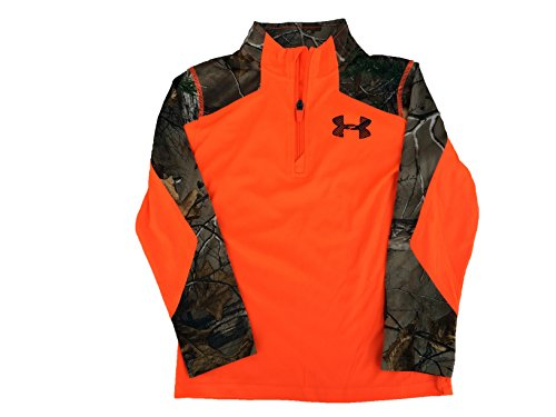 Under Armour Little Girl`s Realtree Camo 1/4-Zip Pullover (Magma Orange (26D54516-80) / Realtree Camo, 5)