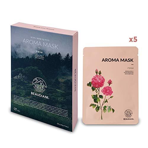 Aroma Tuchmasken für Gesicht mit Rosenduft von ätherischen Ölen. Sicher mit ÖKO-Tex 100 Zertifizierung. Naturkosmetik, Vegan, Koreanische Kosmetik ,Gesichtsmaske Beauty aus Korea (5 x 25g)
