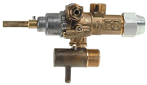 EGA-Alternativ GPEL21R Gashahn für Gasherd Küppersbusch PGH418, PGH618 mit Rohrausgang ø 10mm Thermoelementanschluss M8x1 links