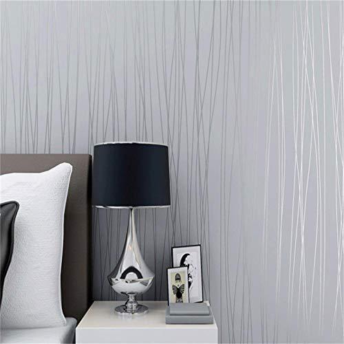 Papel Pintado Pared Rayas gris plata Empapelar Estilo Moderno Rayas Diseño No Tejido Papeles Muro Vinilo Decoración de Pared para TV Telón de Fondo Dormitorio Hotel