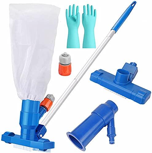 Generally iTOYGod - Limpiadores de piscina, aspiradora portátil para piscina, bañera de hidromasaje con 5 secciones de postes 2 bolsas de malla, 1 par de guantes de limpieza