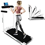 Bigzzia Folding Treadmill, Electric Motorized Workout Running Machine with LED Touch Display, Adjustable Armrest, Safe Key and Tablet/Phone Holder for Home Gym Office Space Saver, Installation-Free