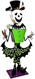 TisYourSeason Life-Size 5 Foot Iron Nutcracker Halloween Statues Holiday Decorations Happy Halloween Porch Greeters (4.3 Foot Tall Skeleton in Top Hat)