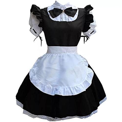 MAJMIN Disfraz de sirvienta Dulce Vestido de Lolita Encaje Lindo Disfraz de sirvienta en Blanco y Negro Uniforme de sirvienta de Anime Uniforme Dulce tentación