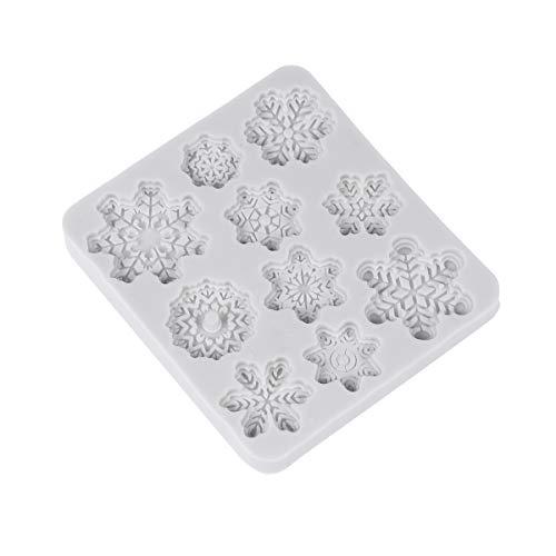 ounona de Navidad 3d de silicona moldes de pastel de Navidad de Navidad de copo de nieve Forma Pastel Molde Fondant Chocolate...