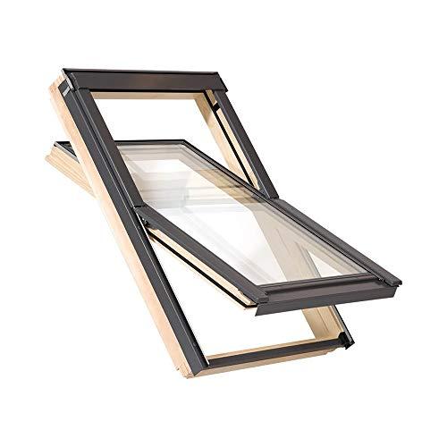 55 x 72 cm Dachfenster der Marke Solstro Premium Holzschwingfenster mit Eindeckrahmen für Ziegel, Dachfenster Außenmaße 55x72 wie 55x78 C02, CK02, C2A