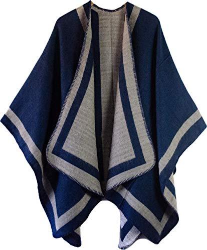 CAPRIUM Poncho Überwurf Cape Wendeponcho Streifen Muster Damen Patchwork 85614 Farbe Blau