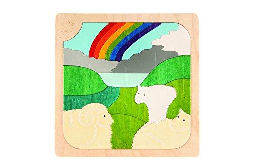 Hape - E6518 - George Luck - Puzzle - Moutons des Champs - 38 pièces