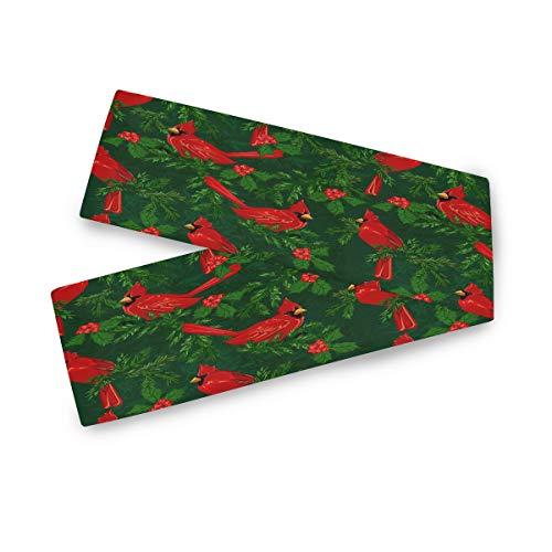 Camino de mesa rectangular F17 con hojas de animales cardenales de Navidad, 33 x 228 cm, poliéster para decoración de bodas, cocinas, fiestas, banquetes, comedores, mesas de café