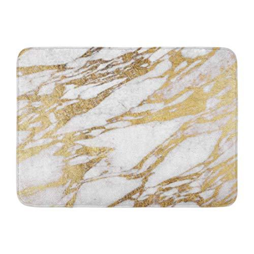 LiminiAOS Badteppich Stein Chic Elegant Weiß und Gold Marmor Muster Moderne Badezimmer Dekor Teppich