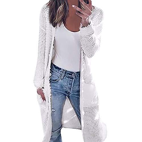 iHENGH Damen Herbst Winter Bequem Lässig Mode Frauen Langarm strickende Strickjacke Tops Damen Herbst Kontrast Jacke Shirts
