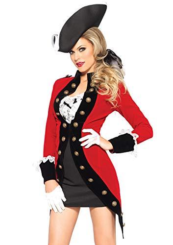 Leg Avenue 85386 - Costume Donna da piratessa ribelle, con cappottino, S, Rosso (rot)