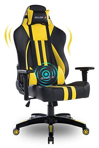Qulomvs Big and Tall Gaming Chair for Adults 400LBS Heavy Duty Computer Massage Video Game Chair Ergonomic PC Racing Gamer Chair Headrest and Lumbar Support (Yellow)