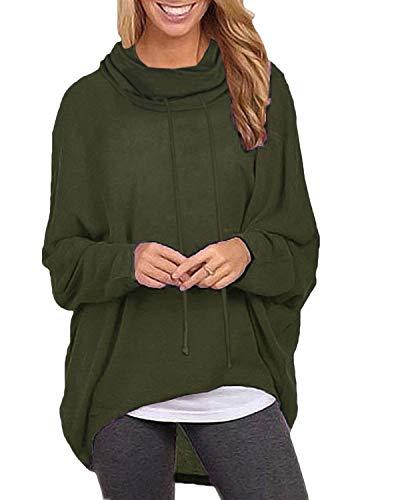 ZANZEA Damen Jumper Langarmshirts Asymmetrisch Sweatshirt Rollkragen Pullover Oversize Tops X-01 Armee Grün Small