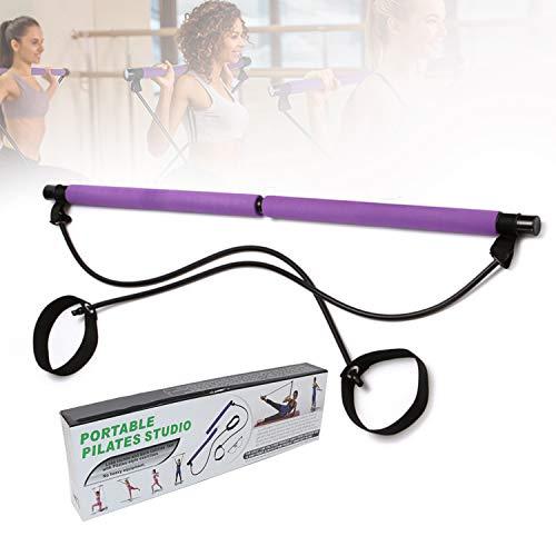 Multifuncional Portátil Kit De Barra De Pilates, Bodybuilding Yoga Pilates Stick con Foot Loop, Ideal para El Entrenamiento Corporal Total En El Hogar, Gimnasio, Levantamiento De Pesas,Púrpura