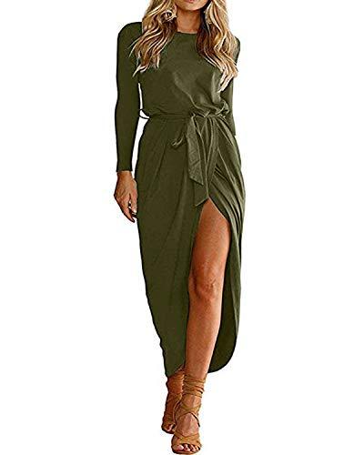 YOINS Sommerkleid Damen Lang Maxikleider für Damen Strandkleid Sexy Kleid Kurzarm Jerseykleider Strickkleider Rundhals mit Gürtel Langarm,EU40-42/M,Langarm-grün