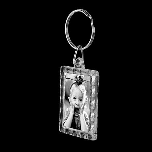 10pcs Llavero de Anillo Marco de Foto Rectángulo Movible Acrílico Metal Blanco 3.5x4.3cm