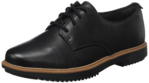 Clarks Raisie Bloom, Scarpe Stringate Donna, Nero (Black Leather), 39 EU