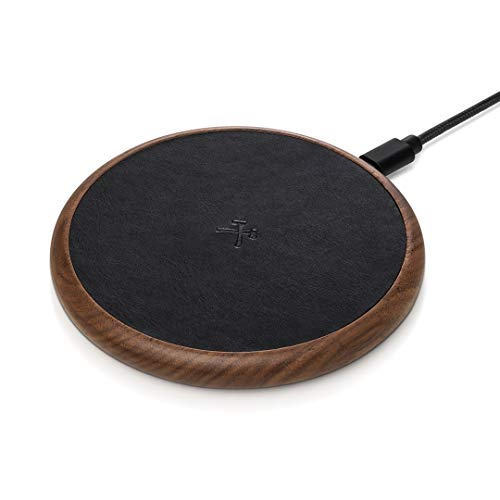 Woodcessories EcoPad - Fast Wireless Charger, induktive Ladestation (Walnuss/Leder)