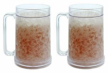 Double Wall Gel Frosty Freezer Mugs 16oz Set of Two Clear