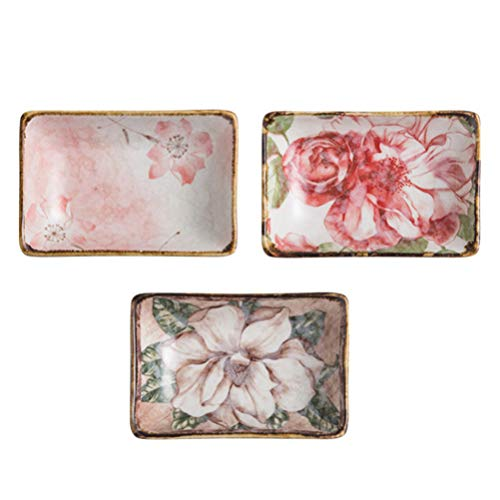 NICEXMAS - Juego de 3 platos de cerámica para sushi, cuenco de vajilla de porcelana