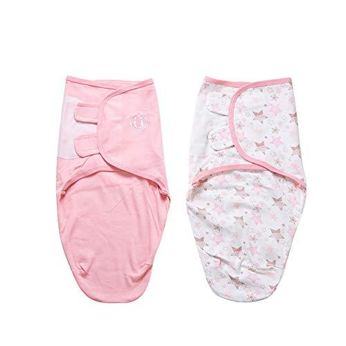 Manta Envolvente para Bebé y Recien Nacido – 2x Saco de Dormir Manta de Arrullo Cobija 100% Algodón - Para Bebes Recien Nacidos (0-2 meses, Rosa)