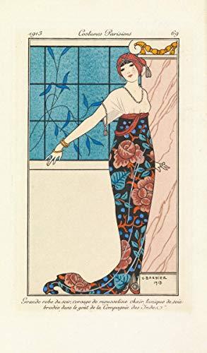 George Barbier Giclee Lienzo Impresión pintura póster Reproducción Print (Vestido de noche con una túnica de seda bordada con un modelo de estilo de compañía de las Indias Orientales francesas)