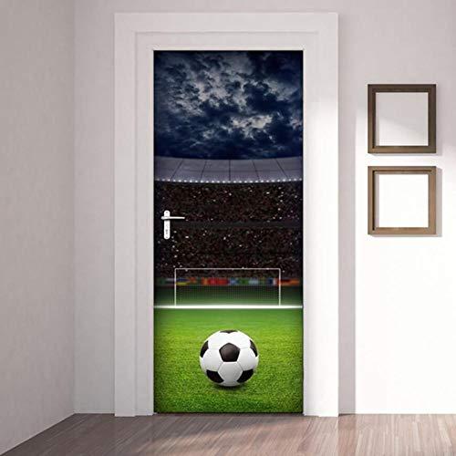 JBMTH 3D Türposter Selbstklebend Fußball Türposter Türfolie Poster Tapete Home Mädchen Schlafzimmer Entfernbare Tapete Kinderzimmer Wohnzimmerbüro-Stangentür-Kunstdekoration95x215CM