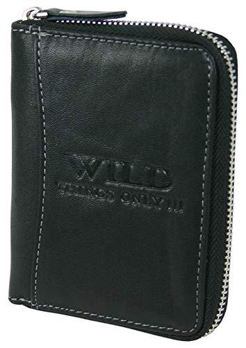 Echt-Leder Geldbörse mit RFID-Schutz - Herren Portmonee mit umlaufendem Reißverschluss, Kartenfächern und Münzfach in praktischer Geschenkbox (Schwarz)