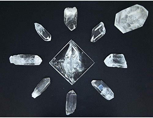 Parrilla de Reiki Cuarzo Blanco Maestro Puntas Bruto Pirámide Completa Cristales Sanación Mandala