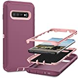 MMHUO for Samsung Galaxy S10 Case,Full Body Heavy Duty Protective Case for Samsung Galaxy S10 Case,3 in 1 Dust & Shock-Proof Phone Case for Samsung Galaxy S10 Hard Cover,Pink/Violet