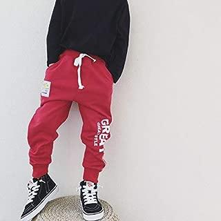 WHPSTZ Boys Sports Pants Autumn New Korean Version of Autumn Boys Trousers Children Casual Pants Sweater Big Children Pants Children's Trousers (Color : Red, Size : 110cm)