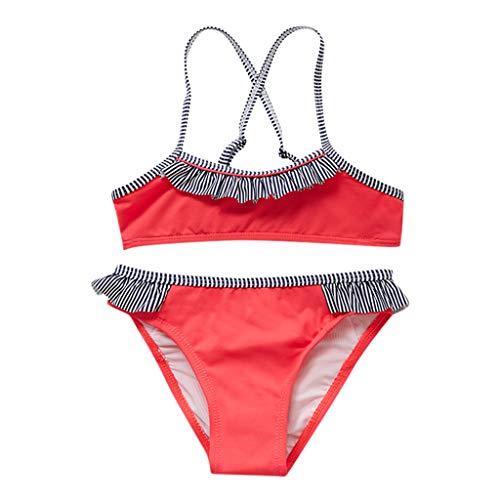 upxiang Costume da Bagno Bambina Ragazzine in Due Pezzi Senza Manica Striscia Spiaggia Mare Piscina Costume Estivo Bambina Bikini Set 2-14 Anni