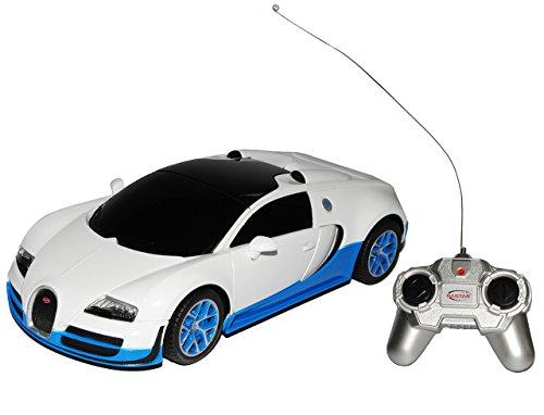 rastar Bugatti Veyron 16.4 Grand Sport Vitesse Weiss Blau RC Funkauto 1/24 Modell Auto mit individiuellem Wunschkennzeichen