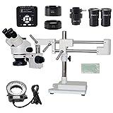 Busirsiz. 3.5x 7x 45x 90x Supporto a doppio braccio 90X Zoom Microscopio stereo trinoculare + microscopio per fotocamera da 41MP per riparazione industriale PCB (Color : Kit)