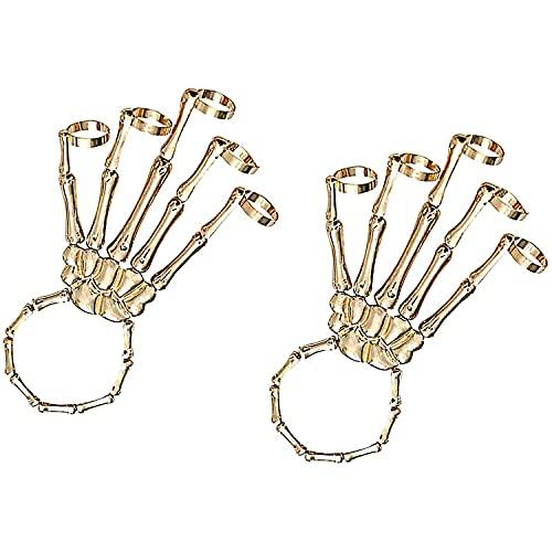 ZHBB Pulsera de hueso de mano punk, pulsera exoesqueleto de Deathbringer ajustable, unisex, calavera de Halloween (oro, 2 unidades)