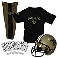 Franklin Sports New Orleans Saints Kids Football Uniform Set - NFL Youth Football Costume for Boys & Girls - Set Includes Helmet, Jersey & Pants - Small