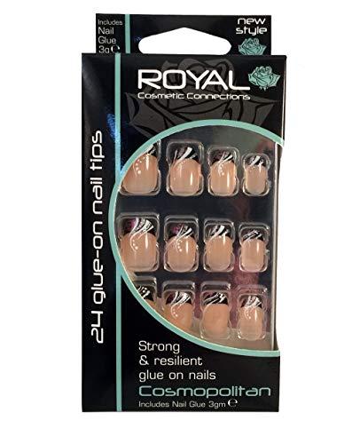 Royal Cosmopolitan–Kit de 24uñas postizas & pegamento–negro, blanco, rosa y lentejuelas