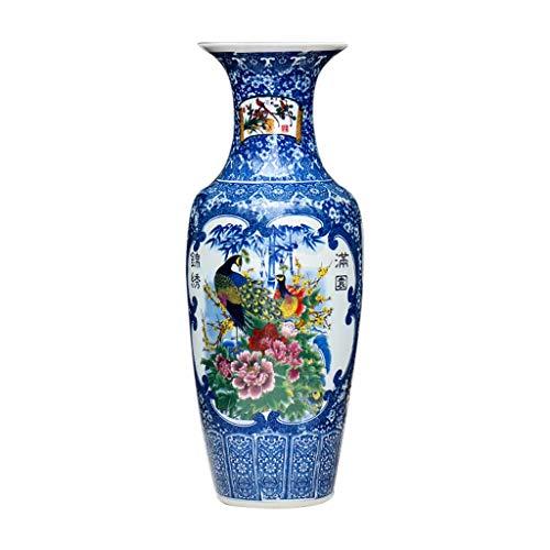 Floreros Jarrón de cerámica Planta Permanente grande clásicos for secar flores de decoración del hogar del arte del hogar Sala de estar del dormitorio del hotel Azul Oficina 33 x 95 cm Jarrón