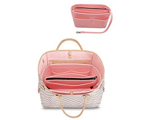 Organizer-Tascheineinsatz aus Filz mit Reißverschluss passend für Speedy Neverfull-Tasche, Taschenformer, Pink (rose), Large
