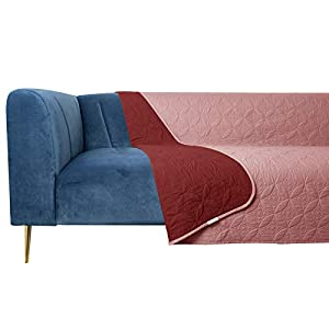 Tuffeel Dog Bed Cover Pet Blanket for Sofa and Bed Reversible Waterproof (52×82 Inches, Burgundy+Pink)