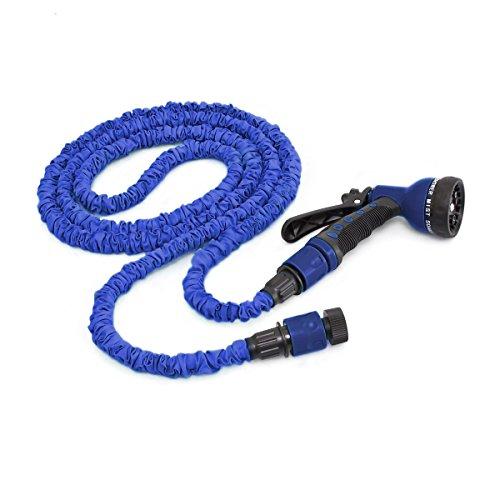 Relaxdays Flexibler Gartenschlauch 7,5m ausgedehnt mit Sprühpistole und 7 Funktionen, blau