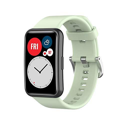 Seltureone Correa de silicona de color sólido compatible con Huawei Watch Fit, correa de repuesto de silicona suave para Huawei Watch Fit para mujeres y hombres, verde