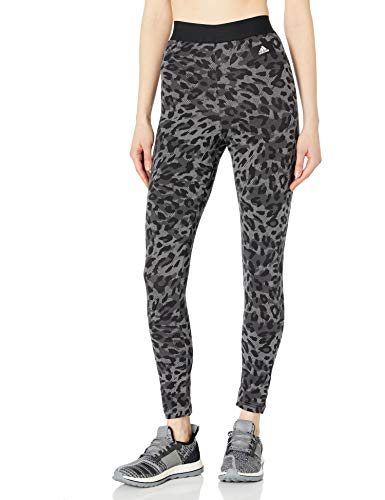 adidas womens All Over Print Cotton Tights Grey Large