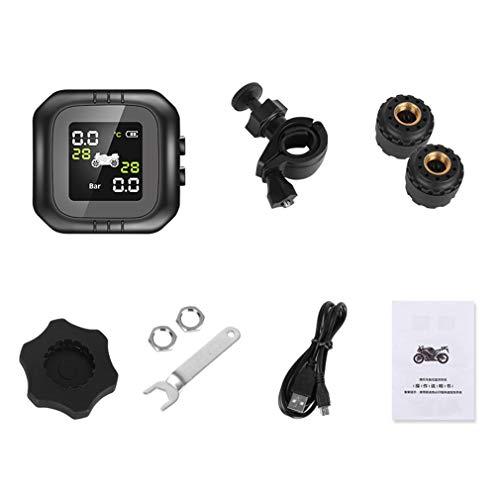 WXZQ Sistema de monitoreo de presión de neumáticos en Tiempo Real para Motocicleta a Prueba de Agua Tpms Sensores externos inalámbricos Monitor de detección de neumáticos Negro