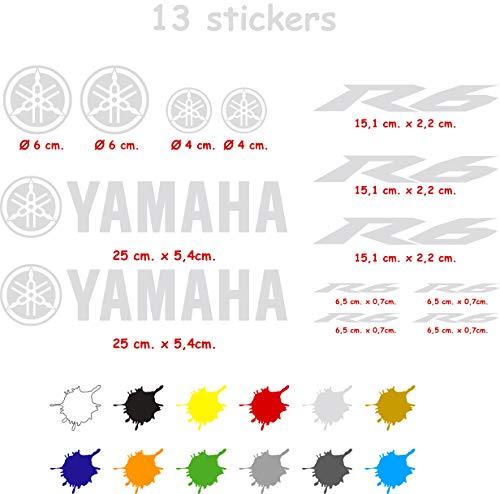 Kit de Pegatinas Troqueladas Compatible Yamaha r6 Vinilo 5 a 7 años (Plata)
