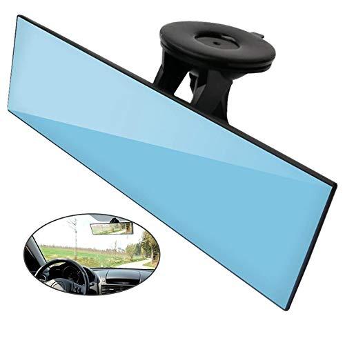 JXSMDG Auto-achteruitkijkspiegel, niet-verblindend universele auto-vrachtwagen-binnenachteruitkijkspiegel met zuignap blauwe spiegel vermindert de dodehoek